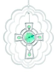Chrome Plated Celtic Cross in Oval Ornament w/Green Swarovski Element Crystal