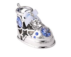 Chrome Plated Baby Shoe Free Standing w/Swarovski Element Crystal