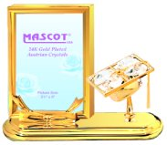 Gold Plated Graduation Cap Rectangle Picture Frame w/Clear Swarovski Element Crystal