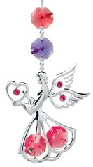 Chrome Plated Angel w/Heart Hanging Charm Ornament w/Red Swarovski Element Crystal