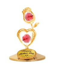 Happy Mother's Day - Flower with Heart on Stand w/Red Swarovski Element Crystal