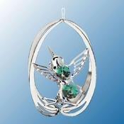 Chrome Plated Hummingbird in Ellipse Ornament w/Green Swarovski Element Crystal