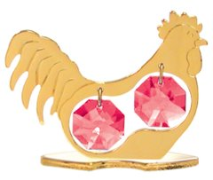 Gold Plated Chinese Zodiac - Rooster on Stand with Red Swarovski Element Crystal