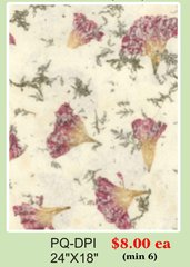 """24"""" x 18"""" Premium Quality (PQ) Handmade Real Flower Paper - Only $8 each (Set of 6 = total $48)"""