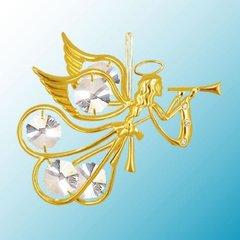 Gold Plated Flying Angel w/Trumpet Ornament w/Swarovski Element Crystals