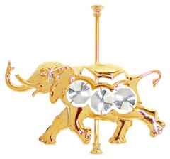Gold Plated Carousel Elephant Sun Catcher (Magnet) w/Swarovski Element Crystal