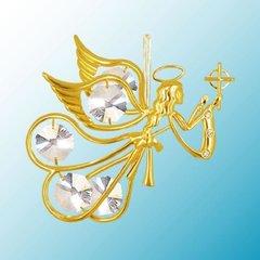 Gold Plated Flying Angel w/Cross Ornament w/Swarovski Element Crystals