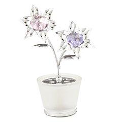 Lily in Glass Pot Free Standing w/Swarovski Element Crystal