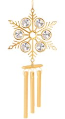 Gold Plated Large Snowflake Wind Chime w/Clear Swarovski Element Crystal