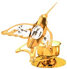 Gold Plated Hummingbird T-Lite Holder w/Swarovski Element Crystal