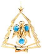 Gold Plated Angel w/Heart in Tree Ornament w/Blue Swarovski Element Crystal