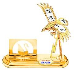Gold Plated Eagle Card Holder w/Clear Swarovski Element Crystal