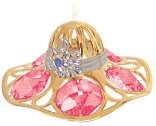 Gold Plated Lady's Hat Ornament w/ Red Swarovski Element Crystal
