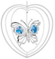 Chrome Plated Butterfly in Heart Ornament w/Blue Swarovski Element Crystal