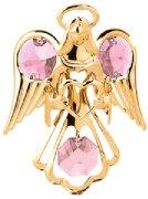Gold Plated Small Angel w/Heart Ornament w/Swarovski Element Crystals