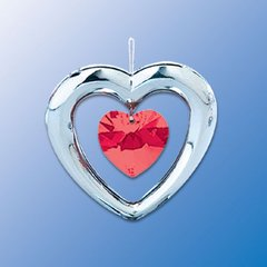 Chrome Plated Heart w/Heart Crystal Ornament w/Red Swarovski Element Crystal