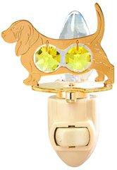 Gold Plated Dog (Basset Hound) Night Light w/Gold Swarovski Element Crystal