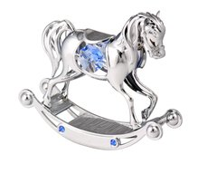 Chrome Plated Rocking Horse Free Standing w/Swarovski Element Crystal