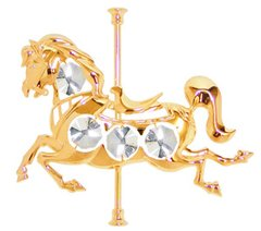 Gold Plated Carousel Horse Sun Catcher (Magnet) w/Swarovski Element Crystal