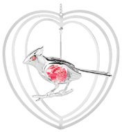 Chrome Plated Cardinal in Heart Ornament w/Red Swarovski Element Crystal