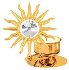 Gold Plated Large Sunburst T-Lite w/Swarovski Element Crystal