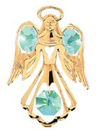 Gold Plated Small Angel w/Open Arms Ornament w/Swarovski Element Crystals