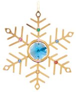 Gold Plated Small Snowflake Ornament w/ Swarovski Element Crystal