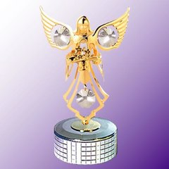 Gold Plated Angel w/Flower Mirror Base Music Box w/Swarovski Element Crystal