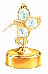 Gold Plated Fantail Hummingbird Music Box w/Clear Swarovski Element Crystal