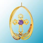 Gold Plated Cross in Ellipse Ornament w/Purple Swarovski Element Crystal