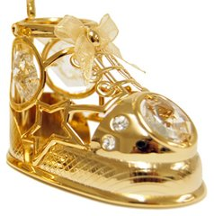 Gold Plated Baby Shoe Free Standing w/Swarovski Element Crystal