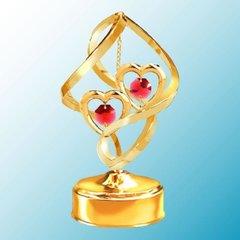 Twin Hearts Spiral Music Box w/ Swarovski Element Crystal