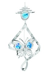 Butterfly Top Spiral Ornament w/Blue Swarovski Element Crystals