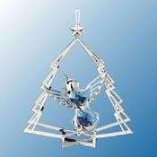 Chrome Plated Hummingbird in Tree Ornament w/Blue Swarovski Element Crystal