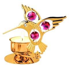 Gold Plated Hummingbird T-Lite w/Swarovski Element Crystal
