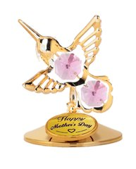 Happy Mother's Day - Hummingbird on Stand w/Pink Swarovski Element Crystal