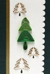 Christmas Tree Quilled Small Paper Cards (Set of 4) with envelopes