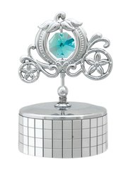 Chrome Plated Carriage Music Box w/Swarovski Element Crystal