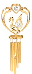 Gold Plated Swan in Heart Wind Chime w/Swarovski Element Crystal
