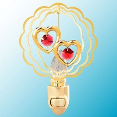 Twin Hearts in Circle Night Light w/Swarovski Element Crystal