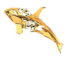Gold Plated Orca Whale Ornament w/Clear Swarovski Element Crystals
