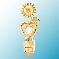 Sunflower w/Heart Night Light w/Swarovski Element Crystal