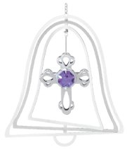 Chrome Plated Cross Bell Ornament w/Purple Swarovski Element Crystal