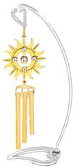 "Swarovski Element Crystal Sunburst Mini Wind Chime with 6"" (H) Heart Stand"