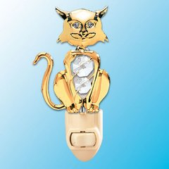 Cat Night Light w/Swarovski Element Crystal