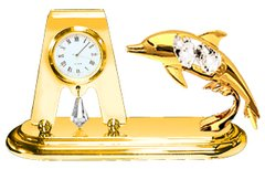 Gold Plated Dolphin Desk Clock w/Clear Swarovski Element Crystal