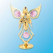 Gold Plated Angel w/Flower on stand w/Pink Swarovski Element Crystal