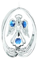 Chrome Plated Angel w/Open Arms in Elispe Ornament w/Clear Swarovski Element Crystal
