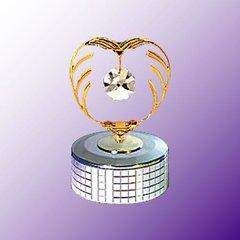 Crystal in Heart Mirror Base Music Box w/Swarovski Element Crystal