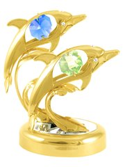 Gold Plated Twin Dolphins on Stand w/Swarovski Element Crystal